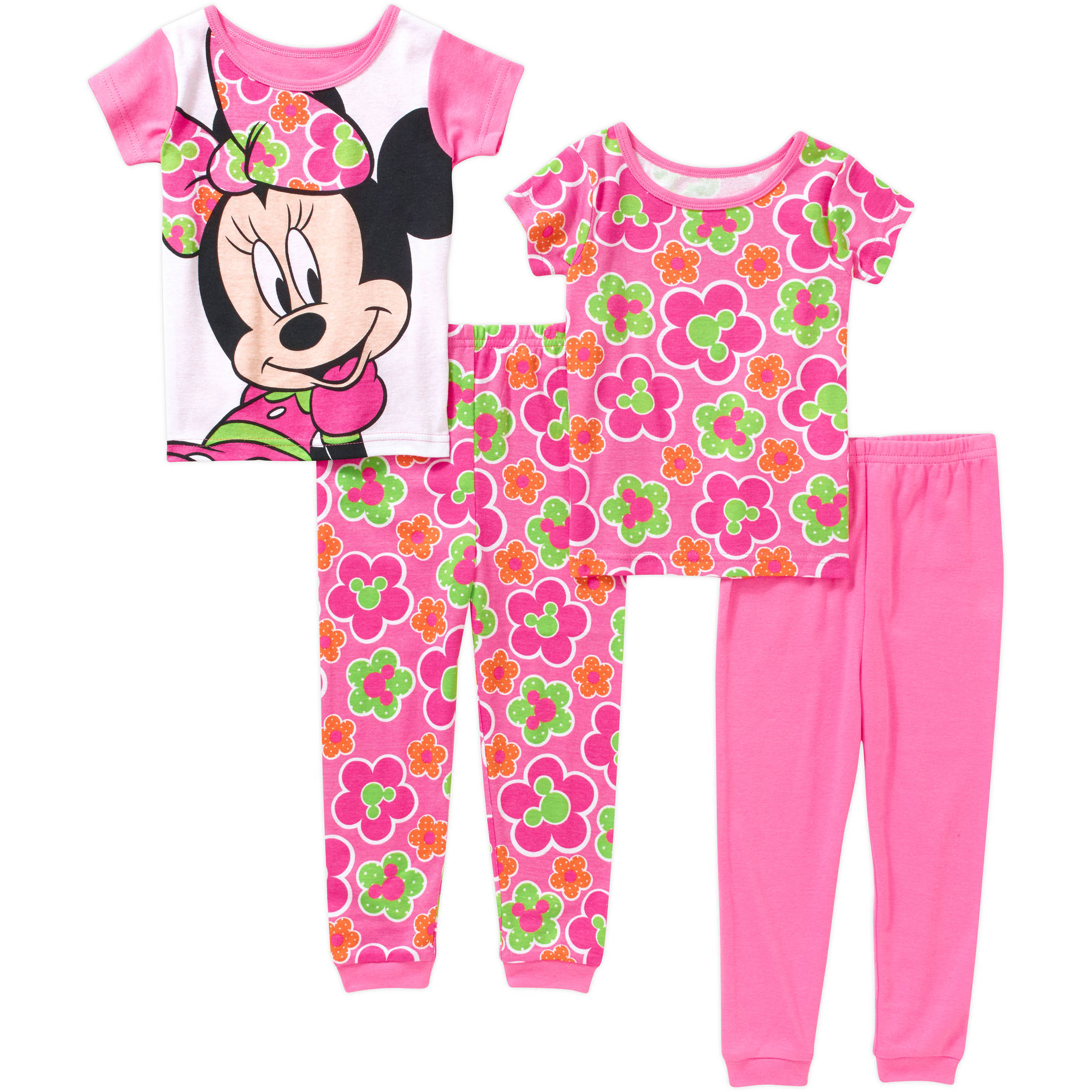 Minnie Mouse Toddler Girl Cotton Tight Fit Short Sleeve Pajama Set, 4-Pieces
