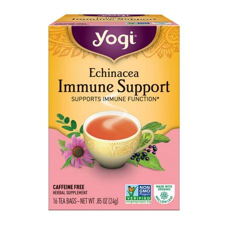 (3 Boxes) Yogi Tea, Echinacea Immune Support Tea, Tea Bags, 16 Ct, .85 OZ