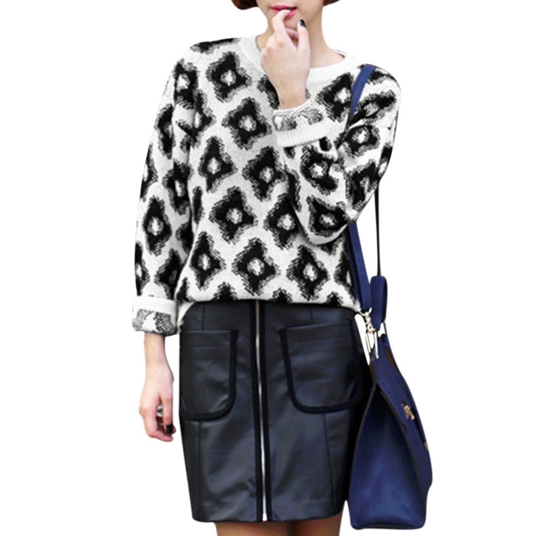 Allegra K Women's Korean Style Argyle Pattern Pullover Sw...