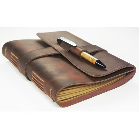 Handmade Leather Journal with Bamboo Pen
