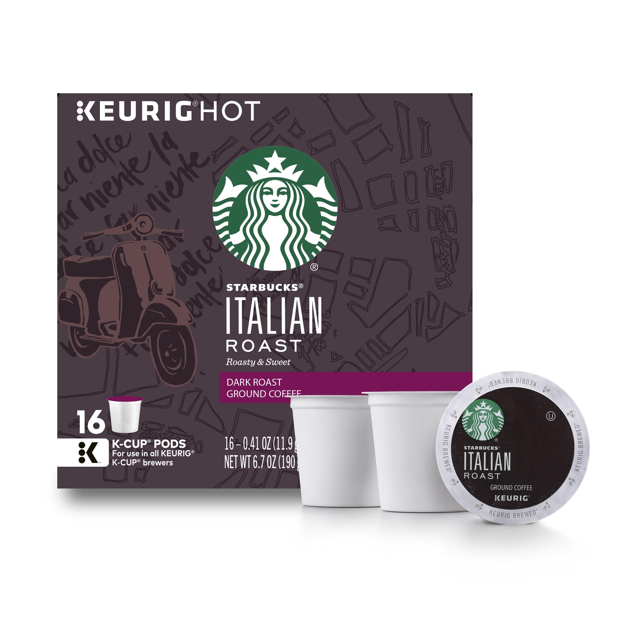 Starbucks Italian Roast Dark Roast Single Cup Coffee for Keurig Brewers, 1 Box of 16 K-Cups (16 Total K-Cup Pods)