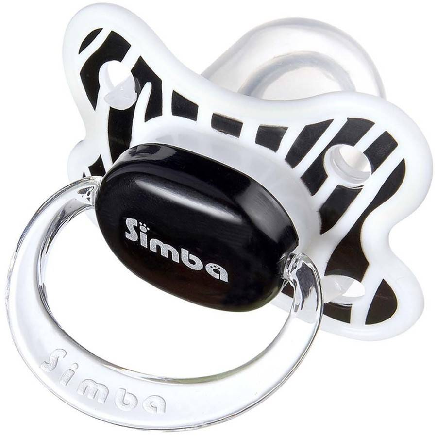 Simba P18011 Zebra Stripes Pacifier, 6 Months and Up