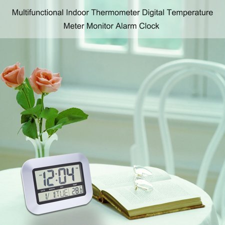 Multifunctional Indoor Hygrometer Thermometer Digital Humidity Temperature Meter Monitor Alarm Clock Calendar LCD Display for Home Office - image 3 of 7