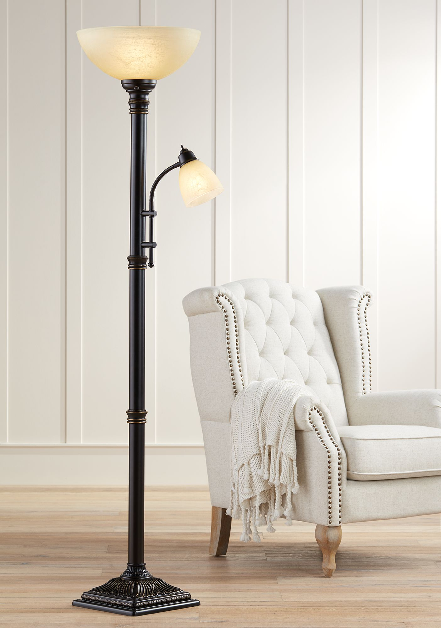 Regency Hill Traditional Torchiere Floor Lamp 2 Light