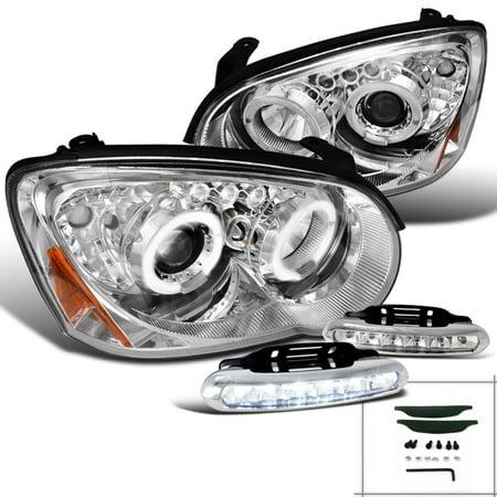 Spec-D Tuning 2004-2005 Subaru Impreza Dual Halo Projector Headlights Chrome + Front Bumper Running Fog (Left + Right) 2004 (Halo Headlights Bumper)
