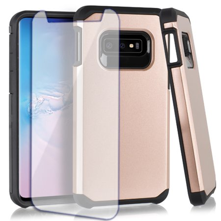 Double Layer Glass (MUNDAZE Samsung Galaxy S10e Slim Double Layered Rose Gold Case Tempered Glass Screen Protector)