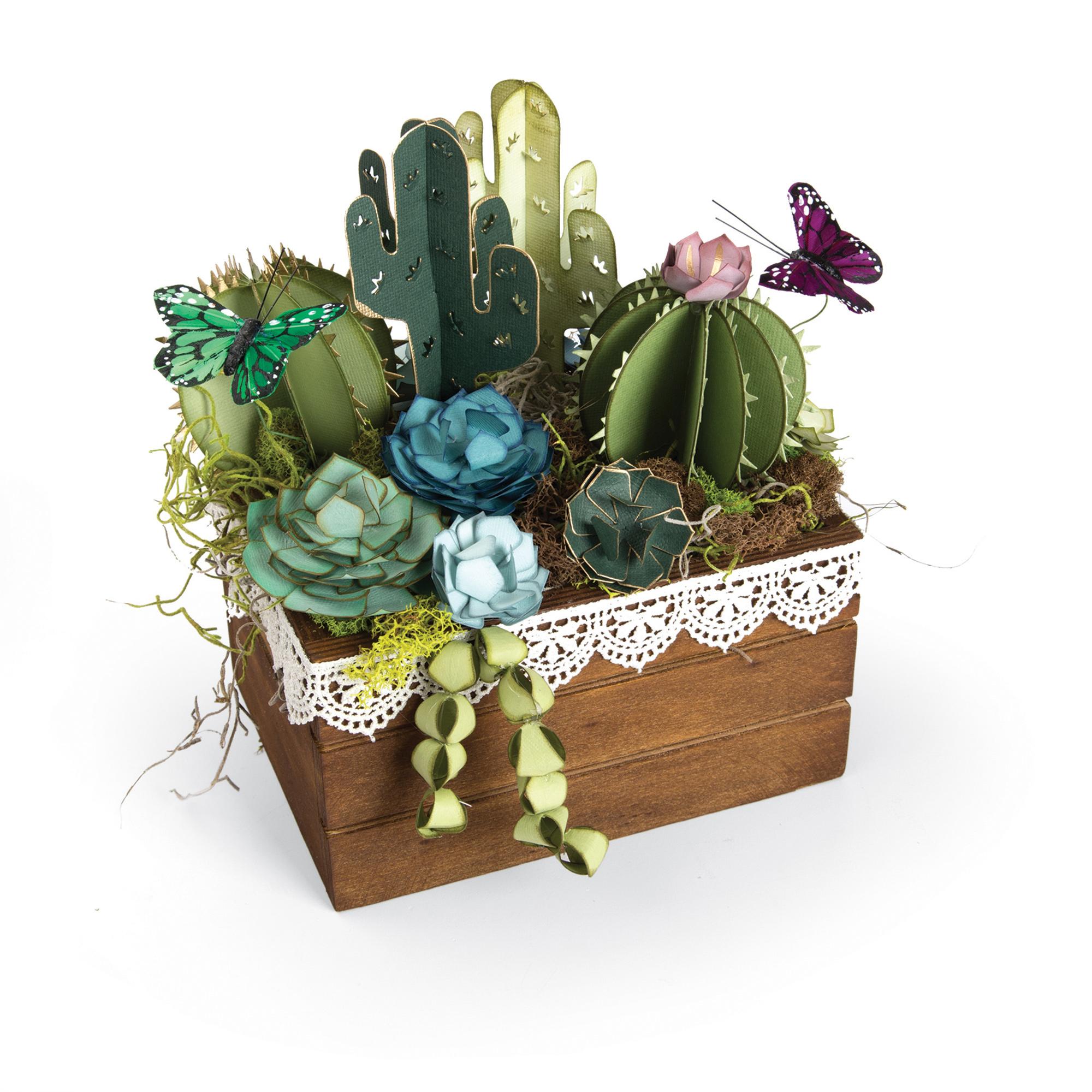 Sizzix Thinlits Dies - Succulents, 2-D & 3-D by Lynda Kanase