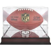 New York Jets Mahogany Football Logo Display Case with Mirror Back