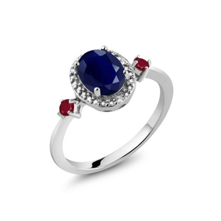 2.04 Ct Oval Blue Sapphire Red Ruby 925 Sterling Silver Ring - image 3 de 3