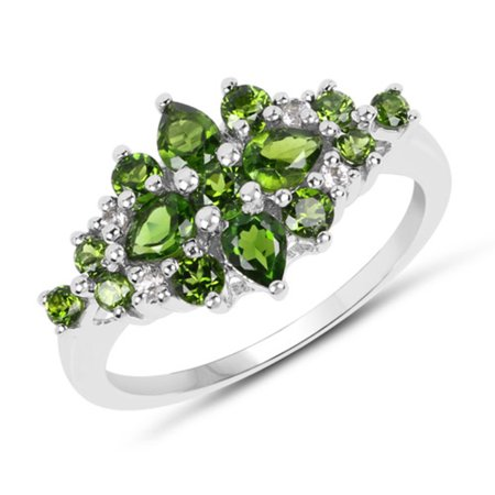 Genuine Round Chrome Diopside Ring in Sterling Silver - Size 8.00