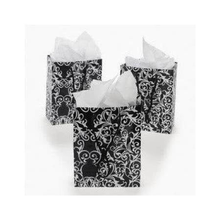 Small Black & White Wedding Gift Bags (1 dozen) - Bulk [Toy] - Small Gift Bags In Bulk