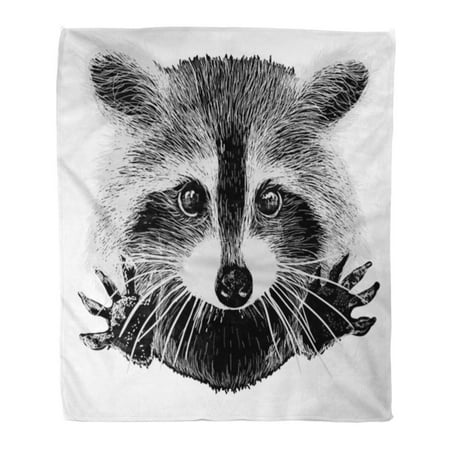 Snuggle Flannel - SIDONKU Throw Blanket Warm Cozy Print Flannel Racoon Cute Raccoon Requests Cuddle and Snuggle Face Comfortable Soft for Bed Sofa and Couch 50x60 Inches