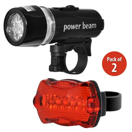 2 x Waterproof 5 LED 2 in 1 Lamp Bike Cycle Bicycle Front Headlight Torch and Battery Powered Rear Safety Warning Flashlight Tail Light