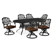 Home Styles Floral Blossom 7-Piece Patio Dining Set, Cast Aluminum, Charcoal Finish