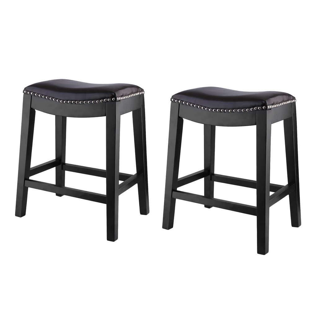 2 Pack Saddle Seats 25 Inch Counter Stools Black Walmartcom
