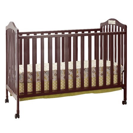 Big Oshi Emily 2-In-1 Convertible Crib Frame - Modern, Unisex Wood Design for Boys or Girls - Low to Ground Design - Converts to Crib or Day Bed Style Toddler Bed - Includes Needed Hardware, Cherry