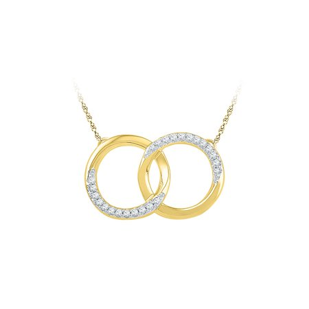 10kt Yellow Gold Womens Round Diamond Interlocking Double Circle Pendant Necklace 1/10 (White Gold Interlocking Design)