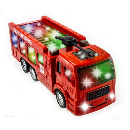 WolVol Electric Fire Truck Toy Car With Stunning 3D Lights and Sirens - Fire Engine Toy Trucks for Kids Imaginative Play