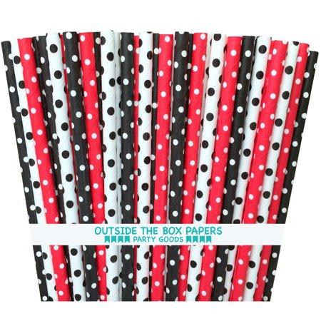 Black, Red, White Polka Dot Ladybug Theme  Paper Straws  75 Pack