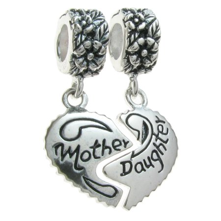Sterling Silver Mother Daughter Love Heart European Style Dangle Bead Charm Fits