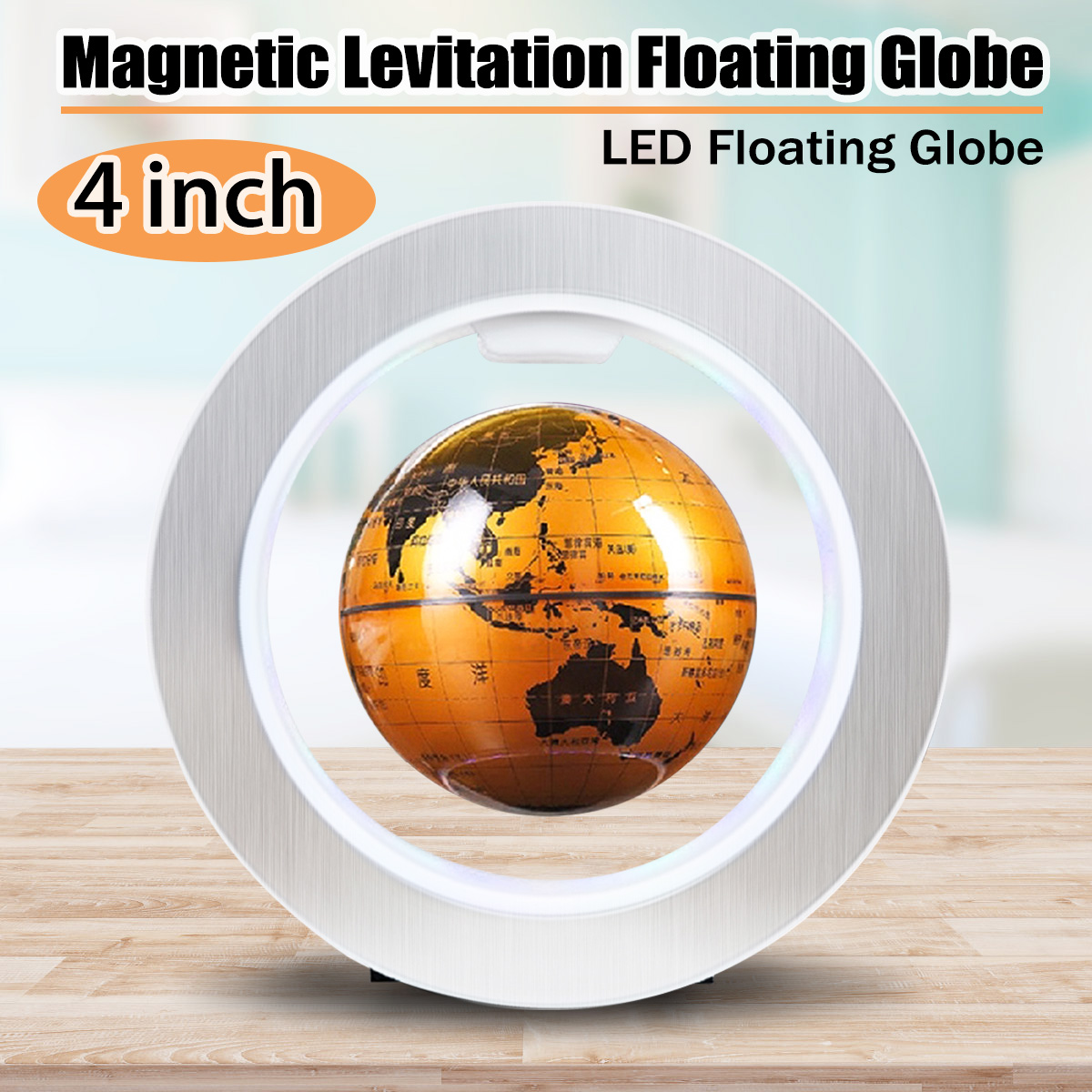4 Inch Electronic Magnetic Levitation Floating Globe Map LED Light Self-Rotating Home Office Desk Decor Christmas Birthday Gift