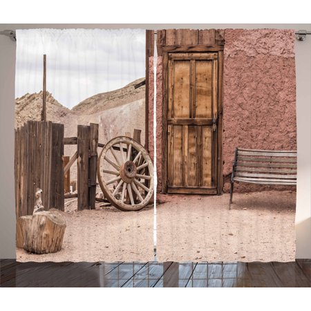 Barn Wood Wagon Wheel Curtains 2 Panels Set, Abandoned Old Farmhouse Doorway Traditional Rustic Outdoors, Window Drapes for Living Room Bedroom, 108W X 108L Inches, Umber Pale Brown, by Ambesonne