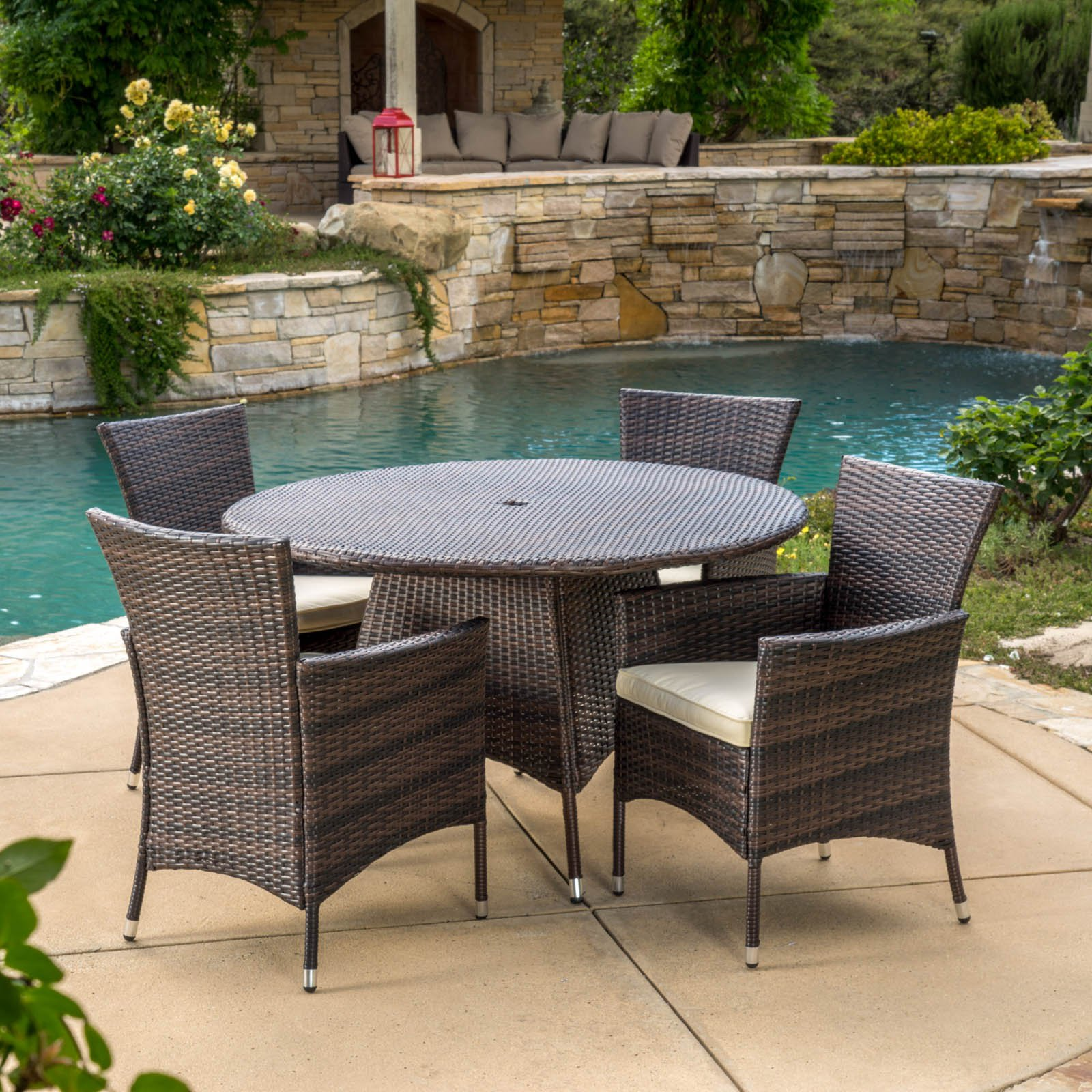 Madison Wicker 5 Piece Round Patio Dining Set With Cushions