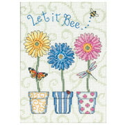 "Dimensions Jiffy ""Let It Bee..."" Mini Counted Cross Stitch Kit, 5"" x 7"""