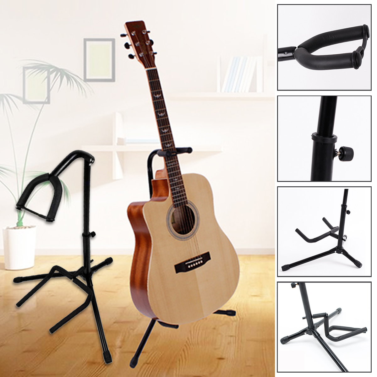 Foldable Tripod Guitar / Ukulele  Stand Holder Rack Tripod Stand w/ Padded Base
