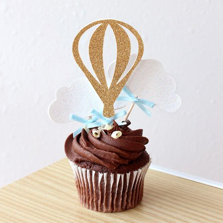 Up Up And Away Party Decorations  Ships In 1 3 Business Days  Hot Air Balloon Cupcake Toppers 12Ct
