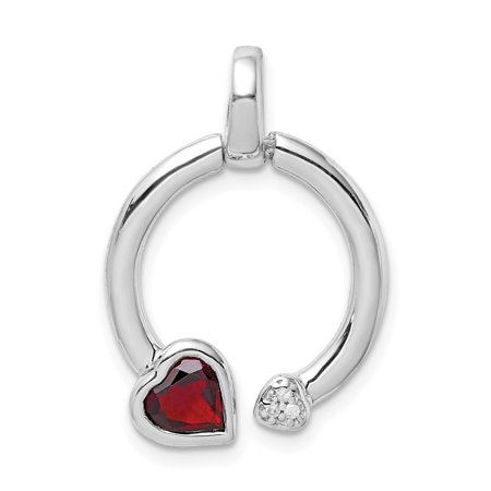 Garnet Circle Pendant (Sterling Silver Garnet & Diamond Hearts in Circle Pendant)