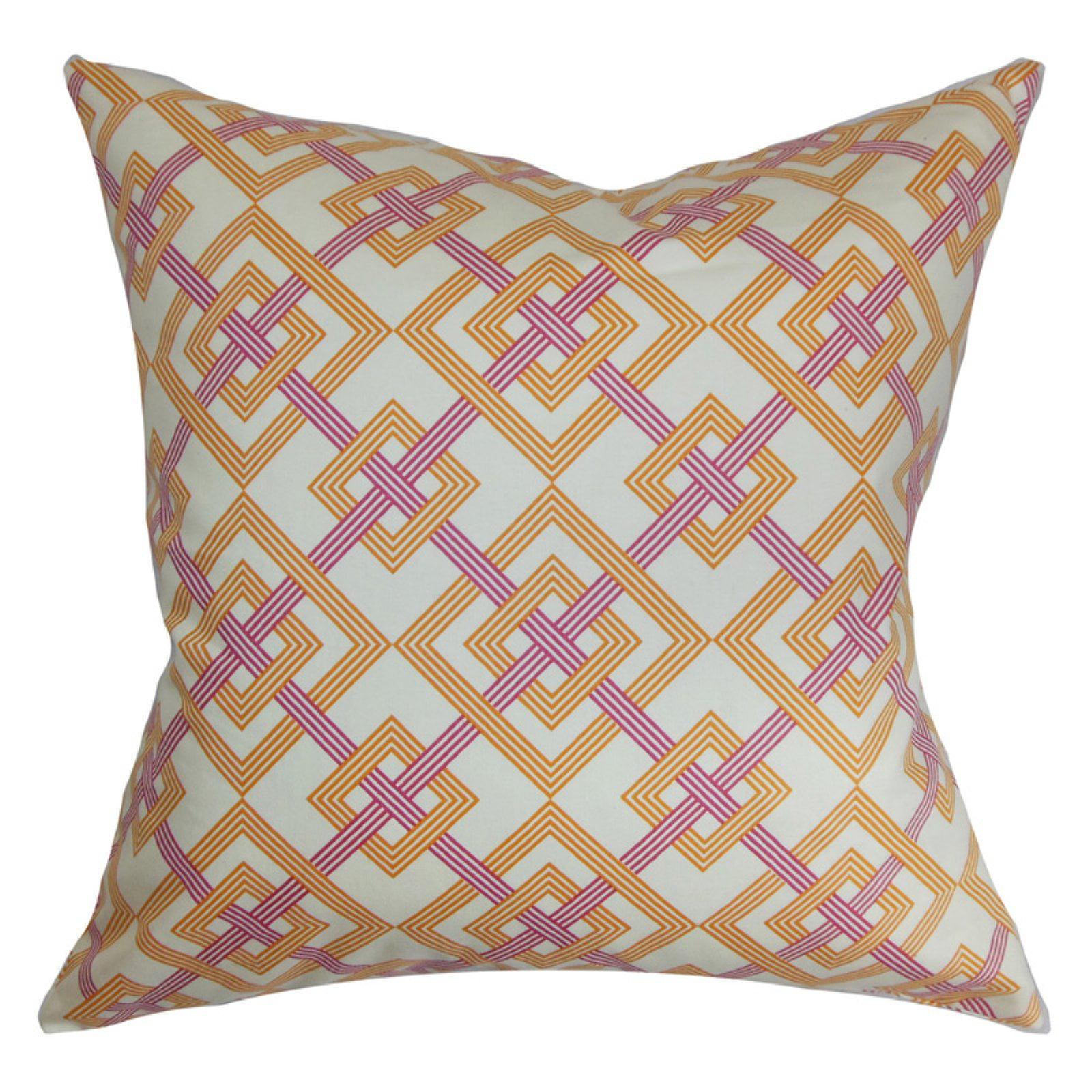 The Pillow Collection Fimbrethil Geometric Pillow - Orange Purple