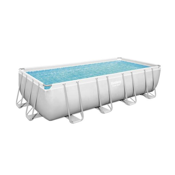 Bestway Power Steel 18 X 9 X 48 Rectangular Metal Frame Swimming Pool Set With Pump Ladder And Cover Walmart Com Walmart Com