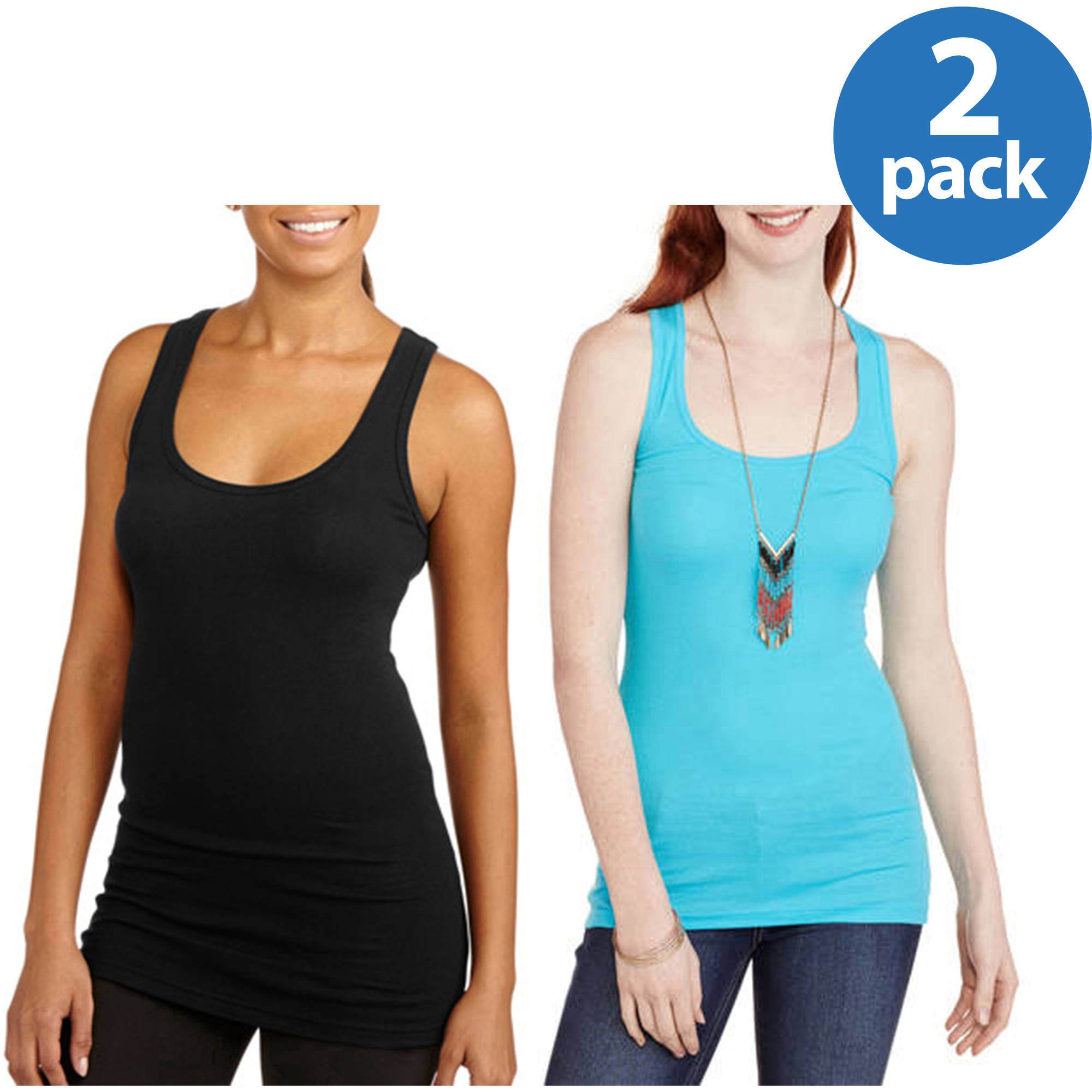 No Boundaries Juniors' Racerback Ribbed Tank 2 Pack
