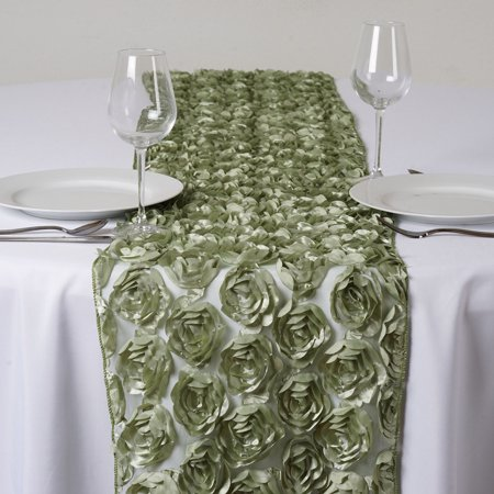 Balsacircle 12 X 108 Satin Ribbon Roses On Lace Table Top Runner Wedding Reception Linens Dinner Event Decorations