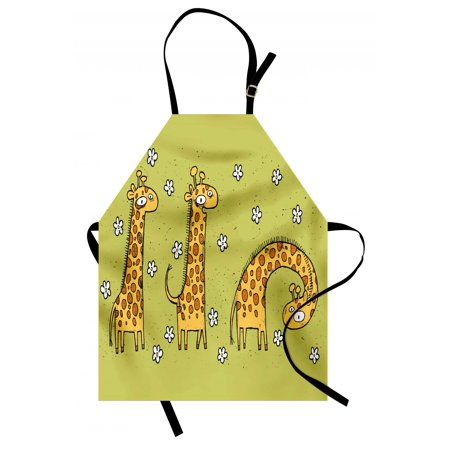 Animal Apron Hand Drawn Illustration of Giraffes on Background with Flowers, Unisex Kitchen Bib Apron with Adjustable Neck for Cooking Baking Gardening, Avocado Green and Pale Caramel, by Ambesonne
