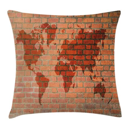Brick Scene (Rustic Home Decor Throw Pillow Cushion Cover, Brick Wall with World Atlas Map Reflection Pattern Contemporary Artful Scene, Decorative Square Accent Pillow Case, 18 X 18 Inches, Orange, by)