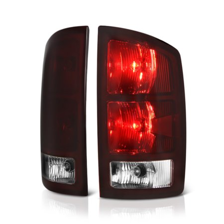 [For 2002-2006 Dodge RAM 1500 2500 3500 Pickup Truck] OE-Style Smoke Red Lens Tail Light Right Lamp Assembly w/ Circuit Board, Driver & Passenger Side