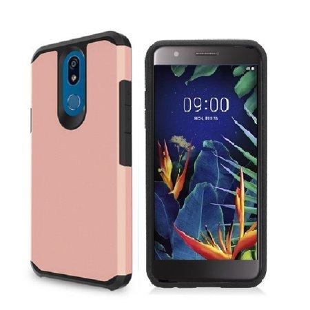 Phone Case for Straight Talk LG Solo L423DL / LG K40 / LG K12 Plus/LG X4  (2019), Hybrid Shockproof Slim Hard Cover Protective Case (Rose Gold)