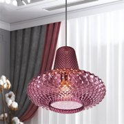Jarvis Vintage Pendant Light Fixture with Pink Glass Shade, Home Decor, Overhead Ceiling Lighting for Foyer, Living or Dining Room, or Reading Nook