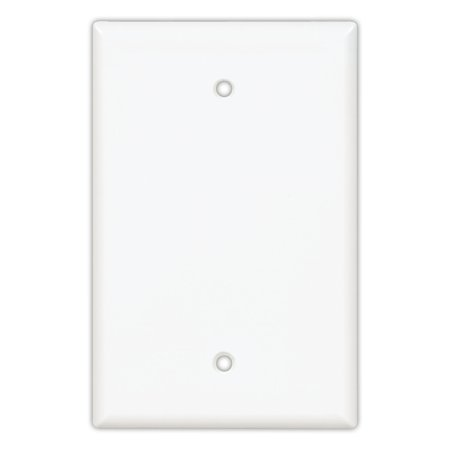 Cooper PJ13W White Mid-Size Unbreakable Single Gang Blank Box Mount Wall Plate