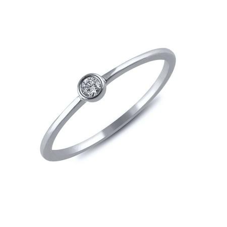 Chrome Bezel Ring (1/20 cttw Diamond Bezel Ring (VS clarity, G-H color) in 14k White)