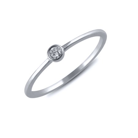 1/20 cttw Diamond Bezel Ring (VS clarity, G-H color) in 14k White Gold ()