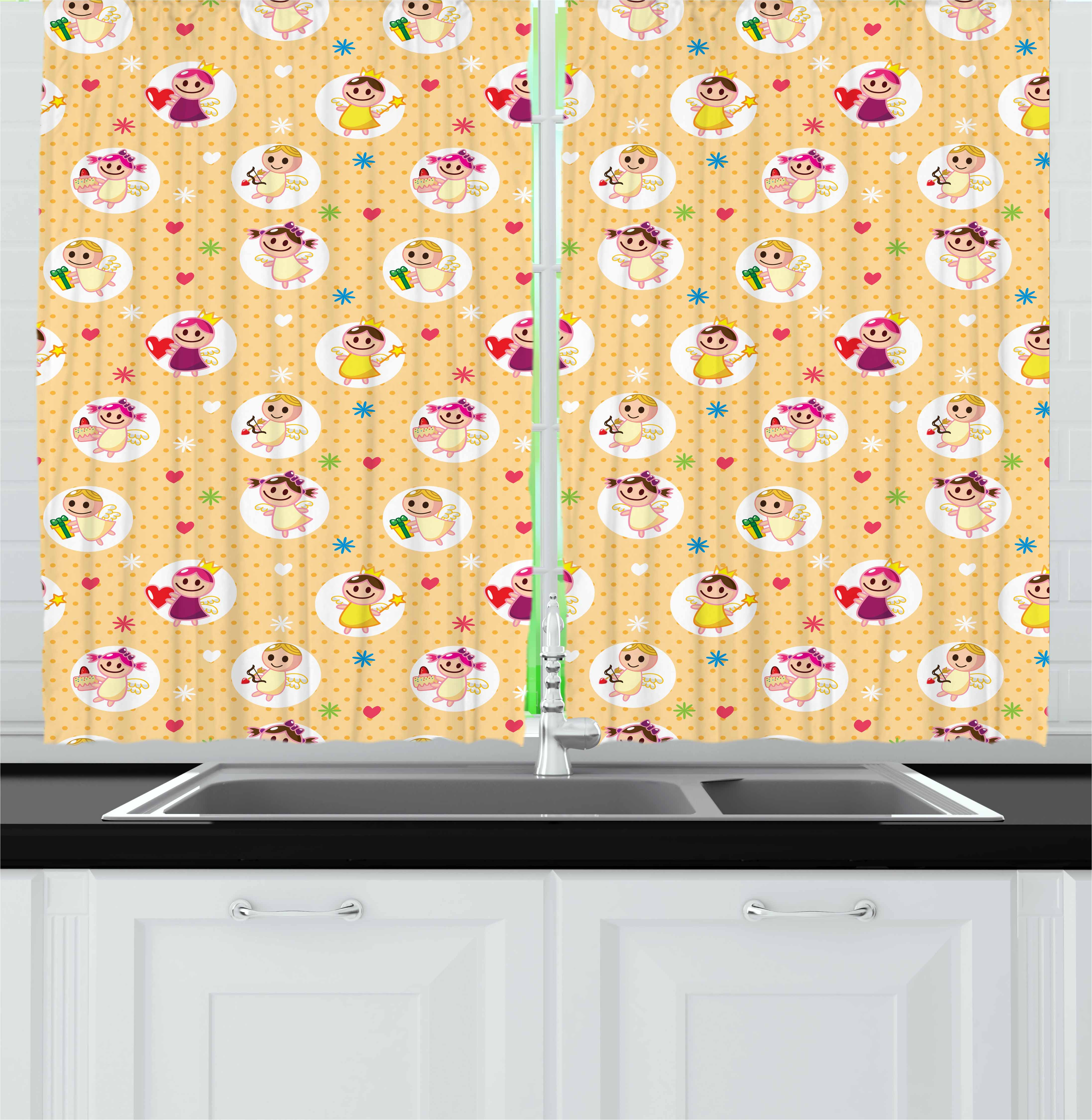 Angel Curtains 2 Panels Set, Childhood Baby Nursery Kids Motherly Love Playroom Toddler Polka Dots Graphic, Window Drapes for Living Room Bedroom, 55W X 39L Inches, Pale Yellow White, by Ambesonne