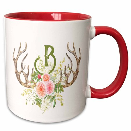 3dRose Pretty Pink Rose Antler Monogram Initial B Watercolor Illustration - Two Tone Red Mug,