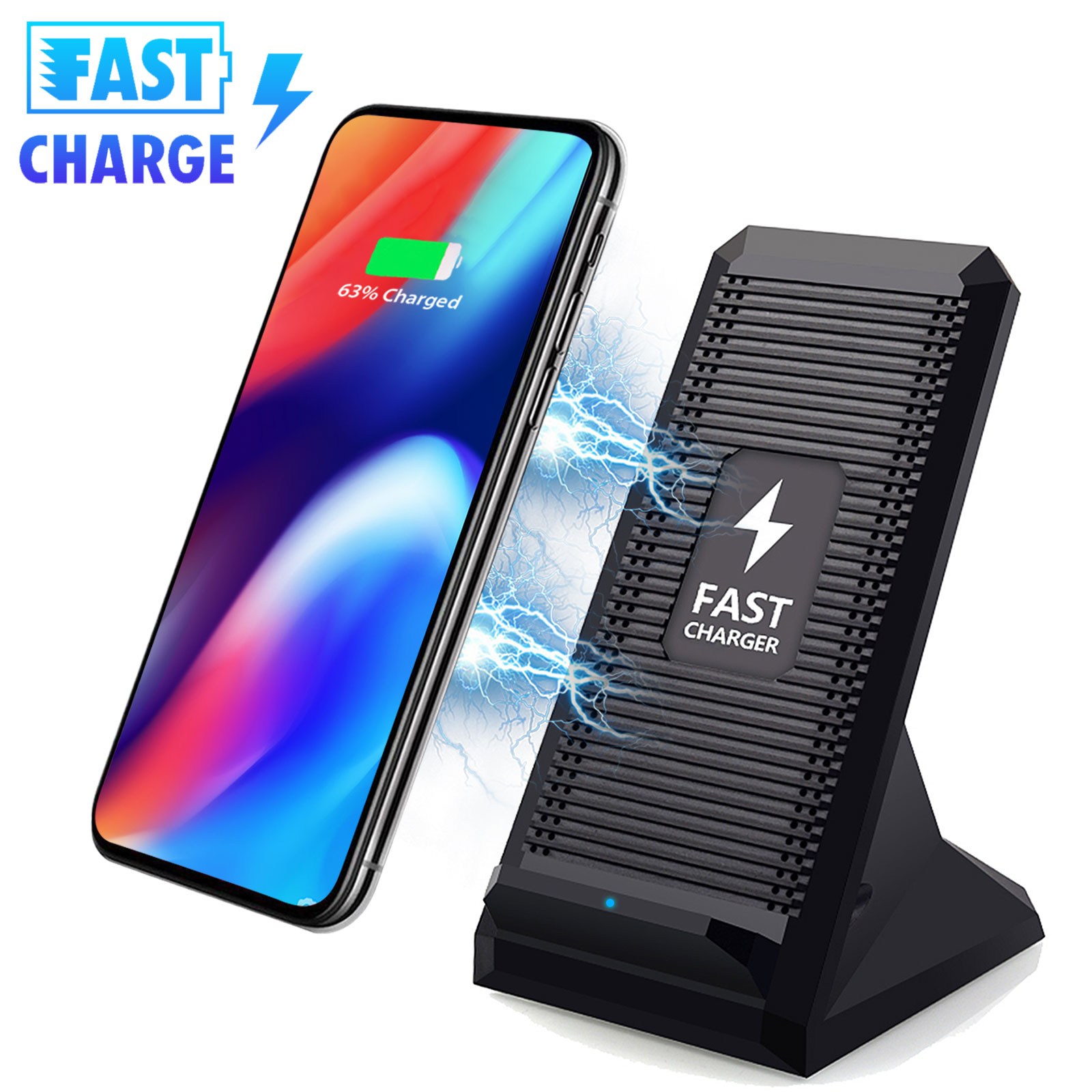 TSV 10W Fast Wireless Charger Stand Dock W/ Cooling Fan For Samsung Galaxy S9 Note 9