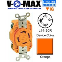 Leviton 2710-IG Receptacle Locking Blade V-0-MAX L14-30R 30A 125/250V 3P4W Isolated Ground - Orange