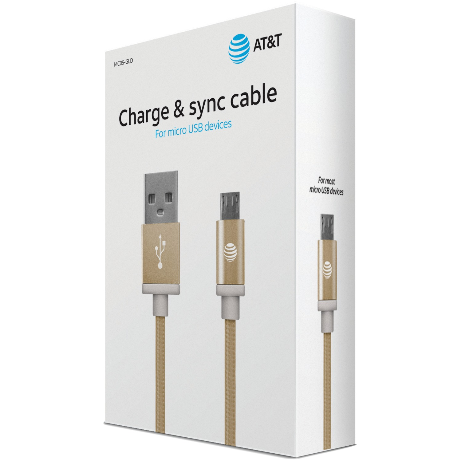 AT&T MC05-GLD Braided USB to Micro USB Charge & Sync Cable, 5ft (Gold)