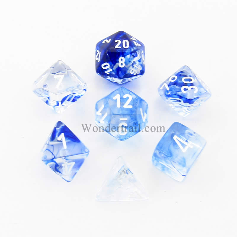 Dark Blue Nebula Dice with White Numbers 16mm (5/8in) Set of 7 Chessex
