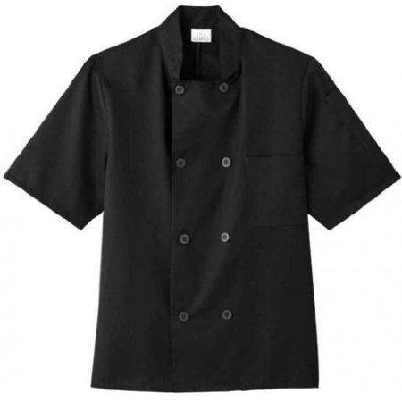 Coat Black Short Sleeve Buttons - Five Star 18001 Unisex Short Sleeve Chef Jacket (Black, Medium)